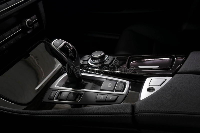 Gear shift in car. Gear shift in modern car. Interior detail royalty free stock photography