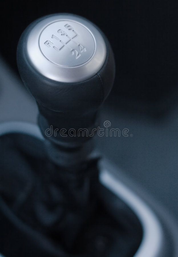 Gear shift handle. In a modern car royalty free stock photo