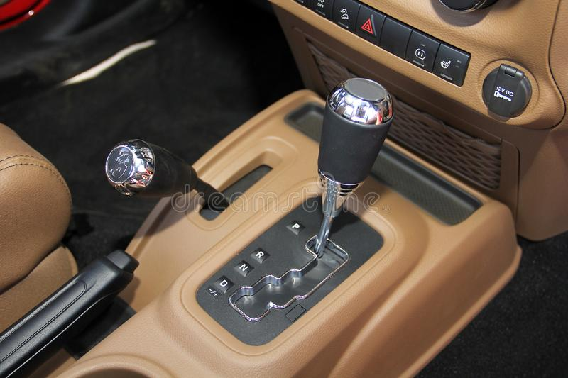 The gear shift lever in the off road car stock image