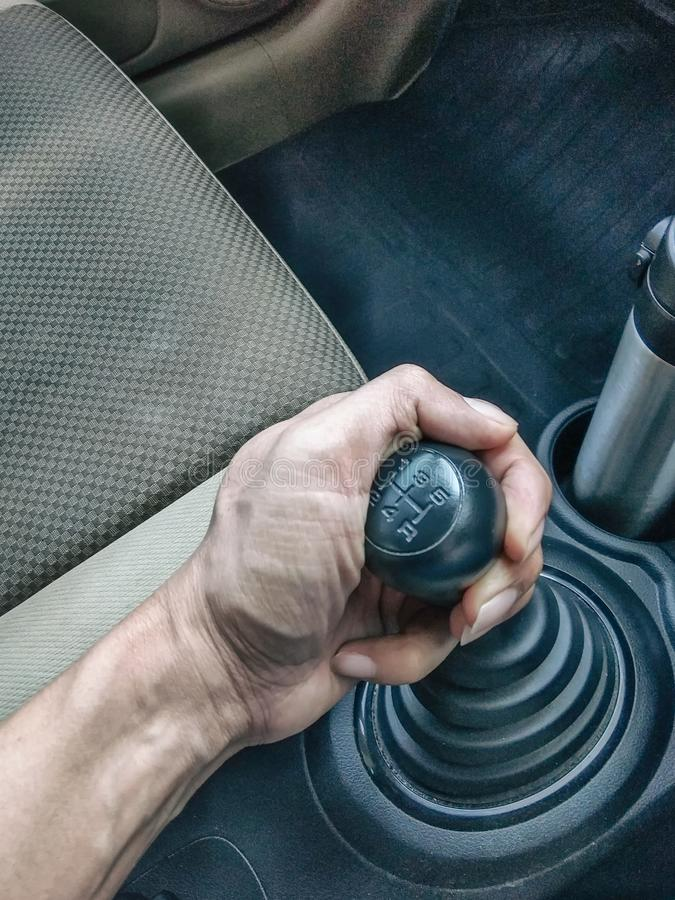 Gear shift Manual. Type of cars royalty free stock photo