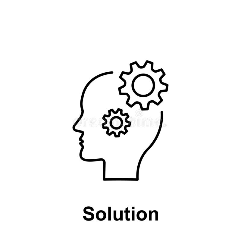 Gear, solution, head icon. Element of creative thinkin icon witn name. Thin line icon for website design and development, app stock photography
