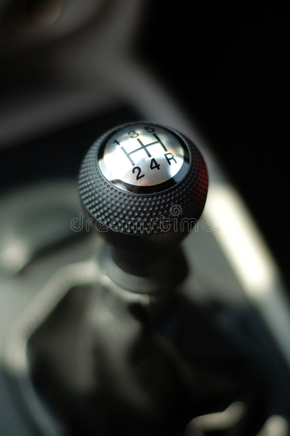 Gear stick of sportive car royalty free stock image