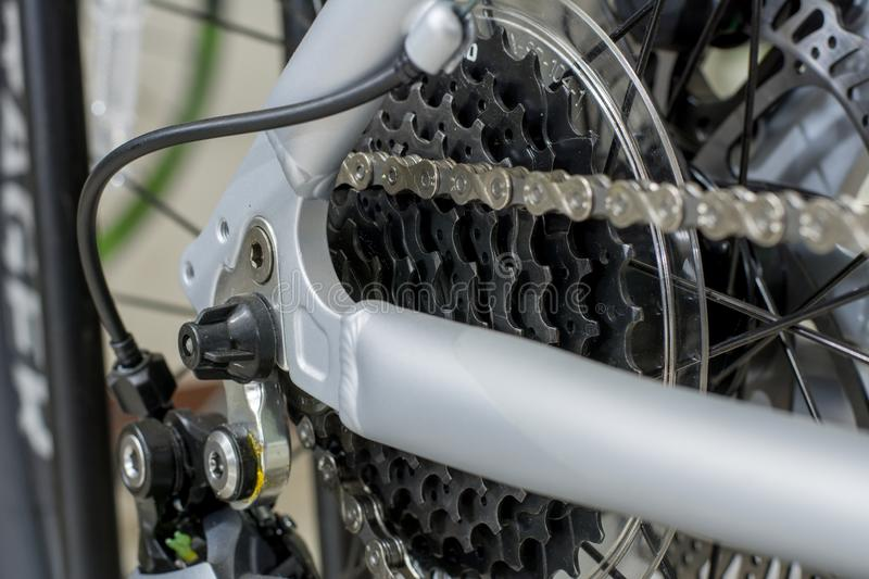 Gear System ,Bicycle Cassette Sprocket and Chain royalty free stock photography