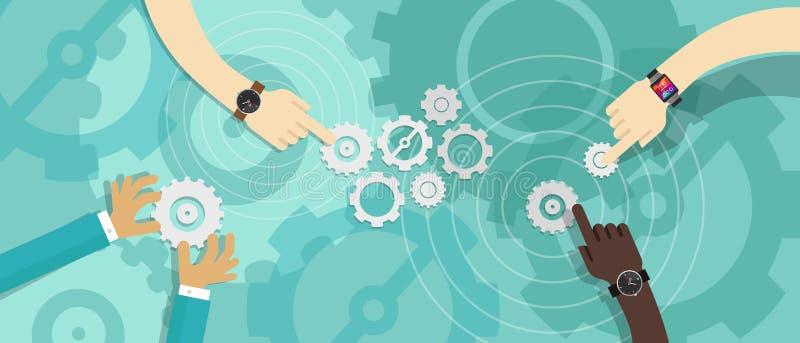 Gear team work collaboration. Partnership corporate business vector illustration