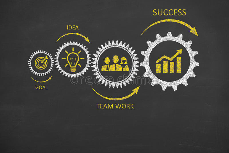 Gear Team Work Success Concepts on Blackboard royalty free stock photography