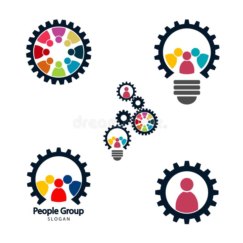 Gear teamwork meeting concept,Graphic group connecting,People Connection logo set,Team work in a circle holding hands,Business vector illustration