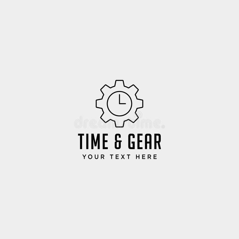 Gear time logo line design management industrial vector icon isolated. Gear time logo line design management industrial vector icon element isolated, business royalty free illustration
