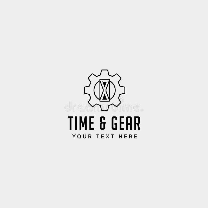 Gear time logo line design management industrial vector icon isolated. Gear time logo line design management industrial vector icon element isolated, business vector illustration