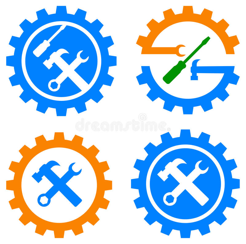 Gear and tools logo. Illustration of gear and tools logo on white background royalty free illustration