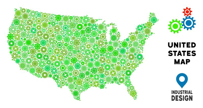 gear usa map collage of small cogs abstract geographic plan in green shades vector usa map is created from cogs concept of technical service