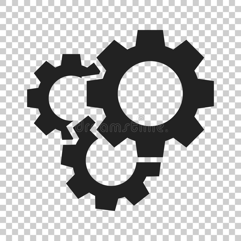 Gear vector icon in flat style. Cog wheel illustration on isolated transparent background. Gearwheel cogwheel business concept. stock illustration