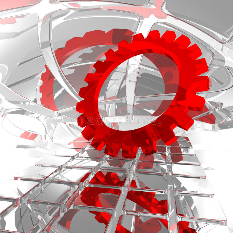 Gear wheel. In abstract space - 3d illustration vector illustration