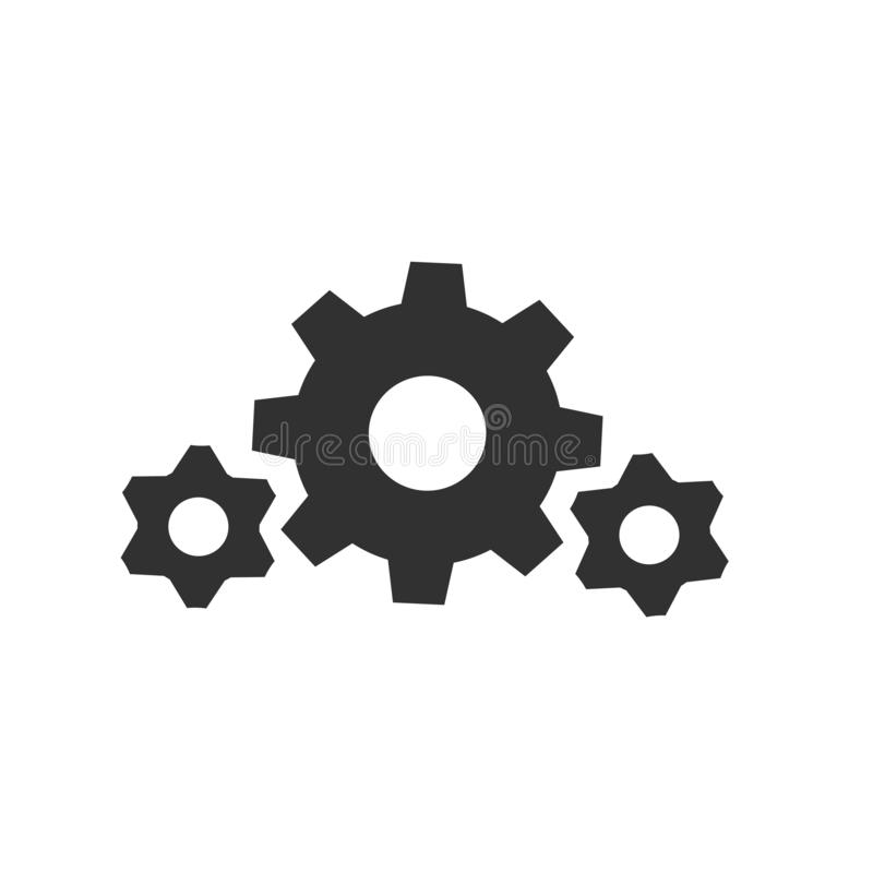 Gear wheel, cogweel big and small icon . Vector illustration isolated on white background royalty free illustration