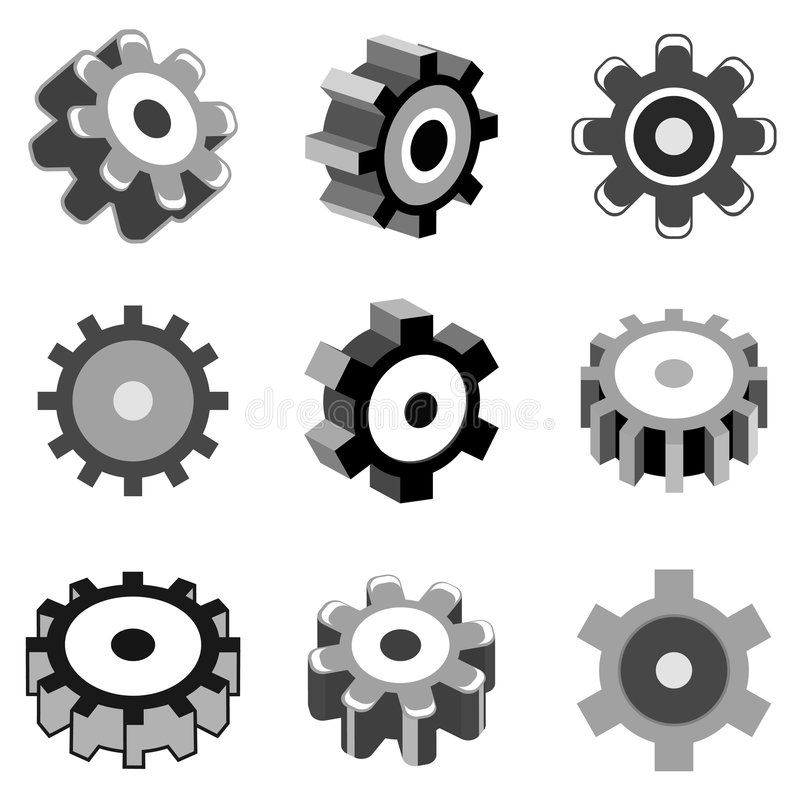 Download Gear wheel icons stock vector. Illustration of roll, modern - 8832369