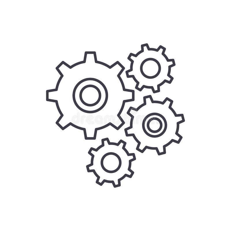 Gear wheel line icon concept. Gear wheel vector linear illustration, symbol, sign stock illustration