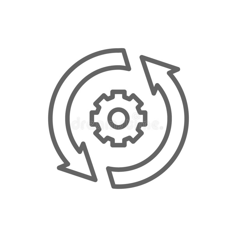 Gear wheel with two arrow, process, system update line icon. stock illustration