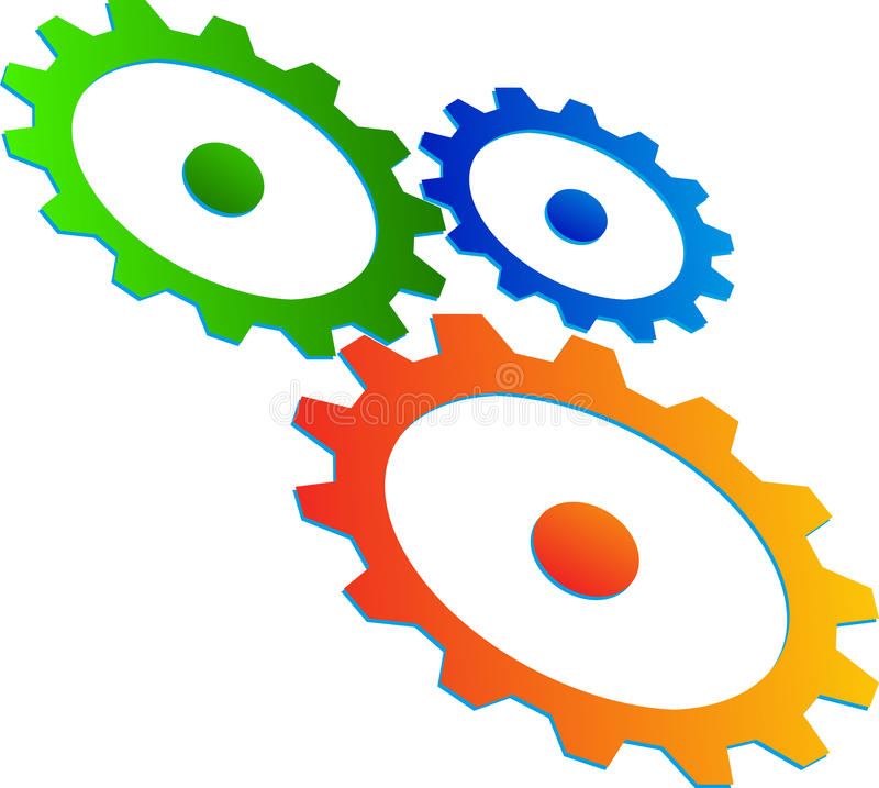 Gear wheels. Illustration of gear wheels design isolated on white background stock illustration