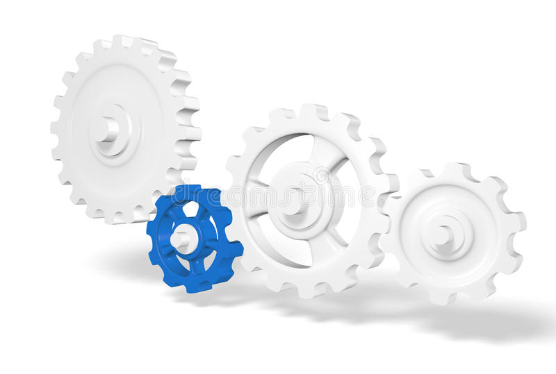 Gear wheels. A set of gray gear wheels with cogs plus one which is colored blue whose teeth are meshed with the cogs of a gray wheel, white background royalty free stock images