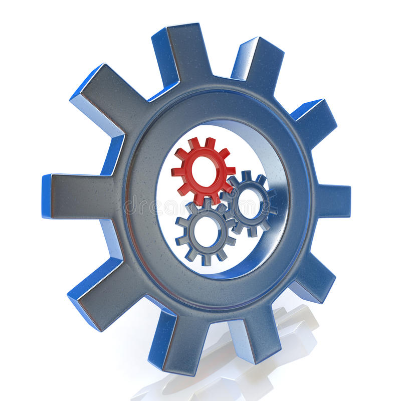 Gear wheels concept icon of leadership or teamwork stock photography