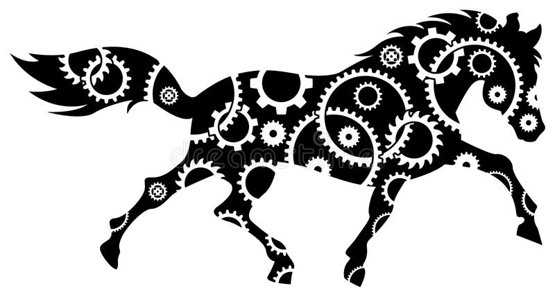 Gear wheels in horse. Line art gear wheels in horse illustration stock illustration