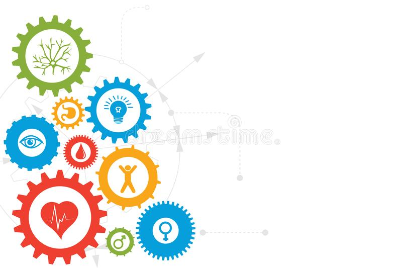 Gear wheels illustration. Illustration of gear wheels in different sizes and shapes, each with a different symbolic object inside, atop a light gray diagram stock illustration