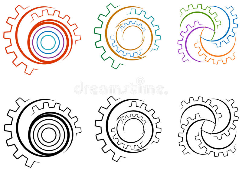 Gear wheels logo set. Line art isolated gear wheels logo set royalty free illustration