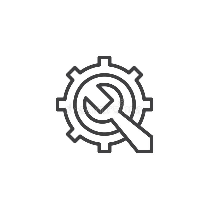 Gear and Wrench outline icon. Linear style sign for mobile concept and web design. Repair service simple line vector icon. Maintenance symbol, logo stock illustration