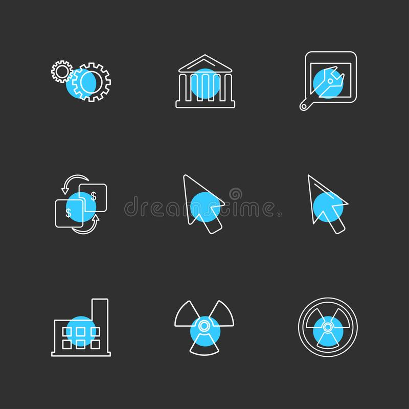 gear , wrench , turbine , industry , ecology , sun , cloud , rain , weather , eps icons set vector stock illustration