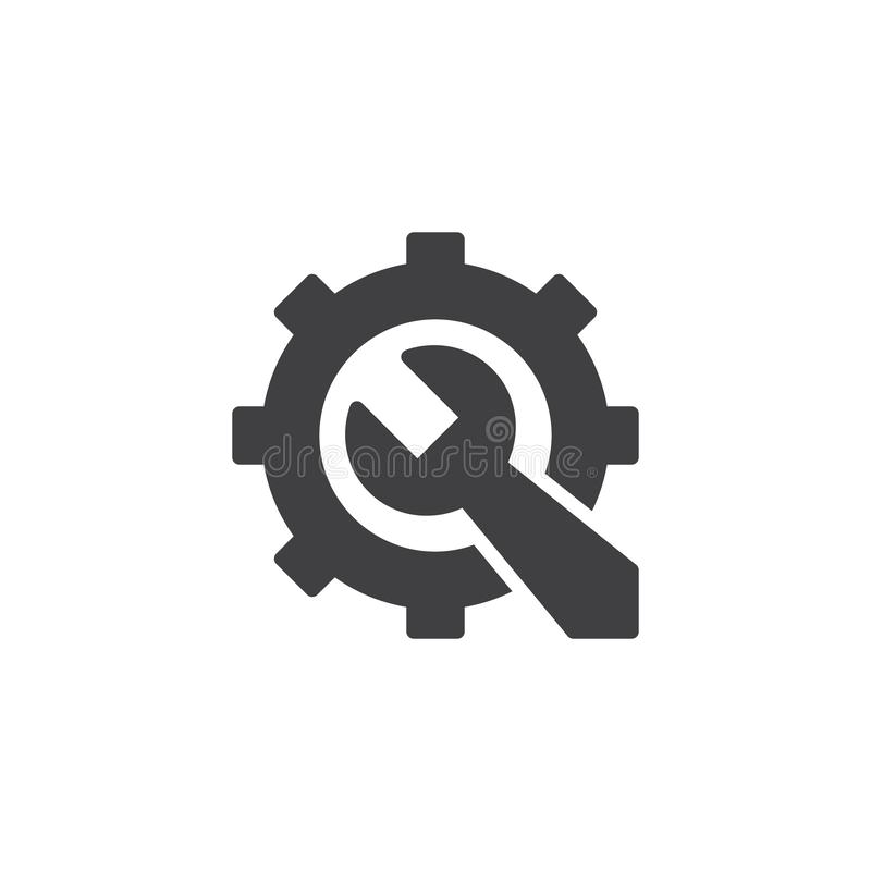 Gear and Wrench vector icon. Filled flat sign for mobile concept and web design. Repair service simple solid icon. Maintenance symbol, logo illustration. Pixel vector illustration