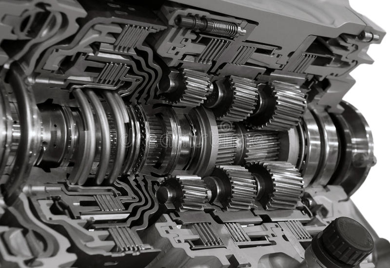 Gearbox. Automotive transmission gearbox with lots of details stock image