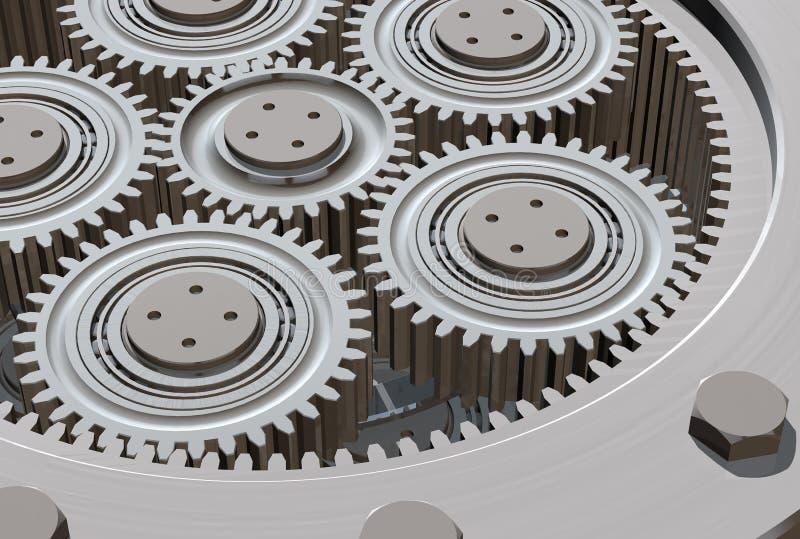 Gearbox Closeup. 3D illustration of gearbox interior vector illustration
