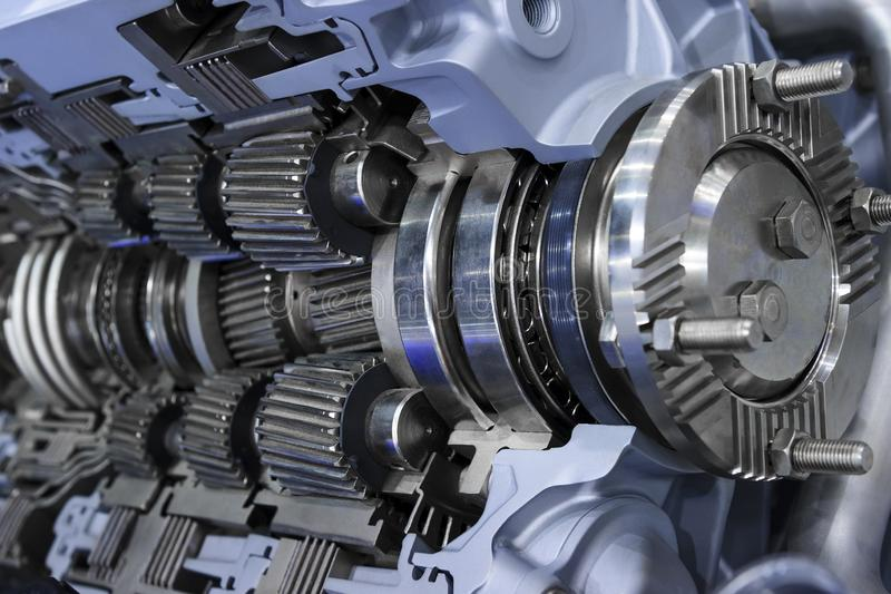 Gearbox of commercial truck. Gearbox cross-section, engine industry, sprockets, cogwheels and bearings of automotive transmission for oversize trucks, SUV, cargo royalty free stock photo