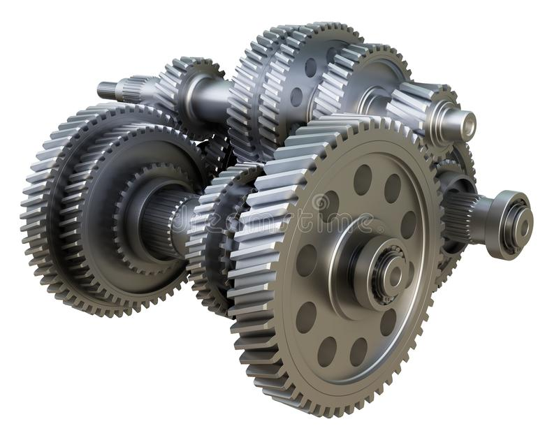Gearbox concept. Metal gears, shafts and bearings. On white background. 3D illustration. Industrial background vector illustration