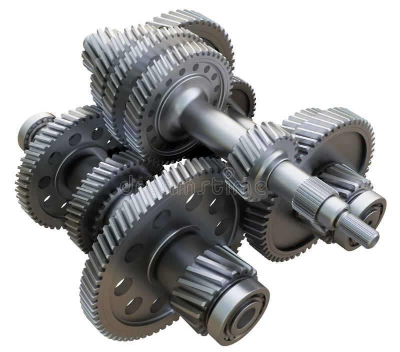 Gearbox concept. Metal gears, shafts and bearings. On white background. 3D illustration. Industrial background royalty free stock photo