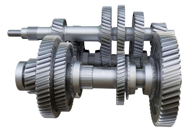 Gearbox concept. Metal gears, shafts and bearings. On white background. 3D illustration. Industrial background stock illustration