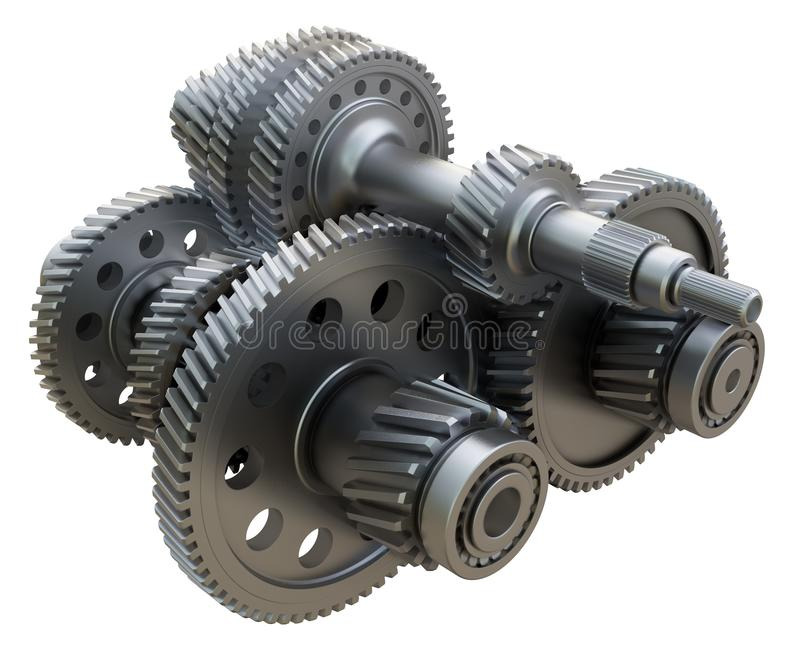 Gearbox concept. Metal gears, shafts and bearings. On white background. 3D illustration. Industrial background royalty free illustration