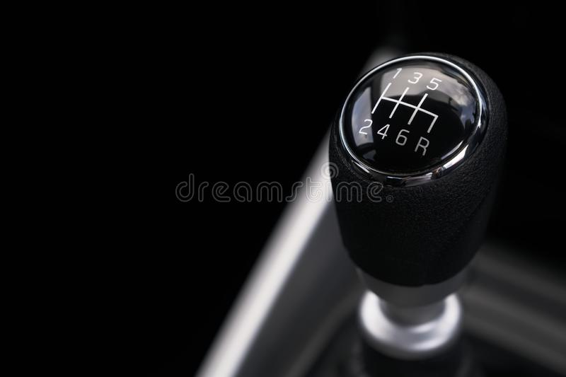 Gearbox gear stick manual control of power in car interior stock photography