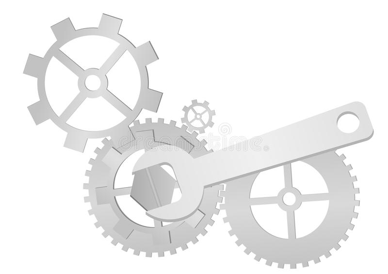 Gears. Set of gears and wrench isolated on white background stock illustration