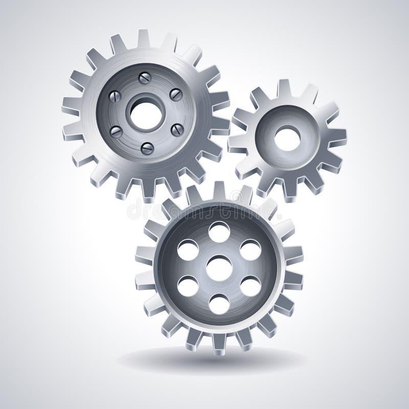 Gears. Vector illustration - metal gears icon