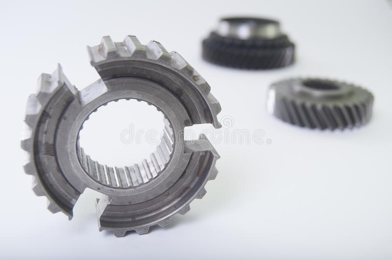 Gears. From a gearbox with a white background stock image