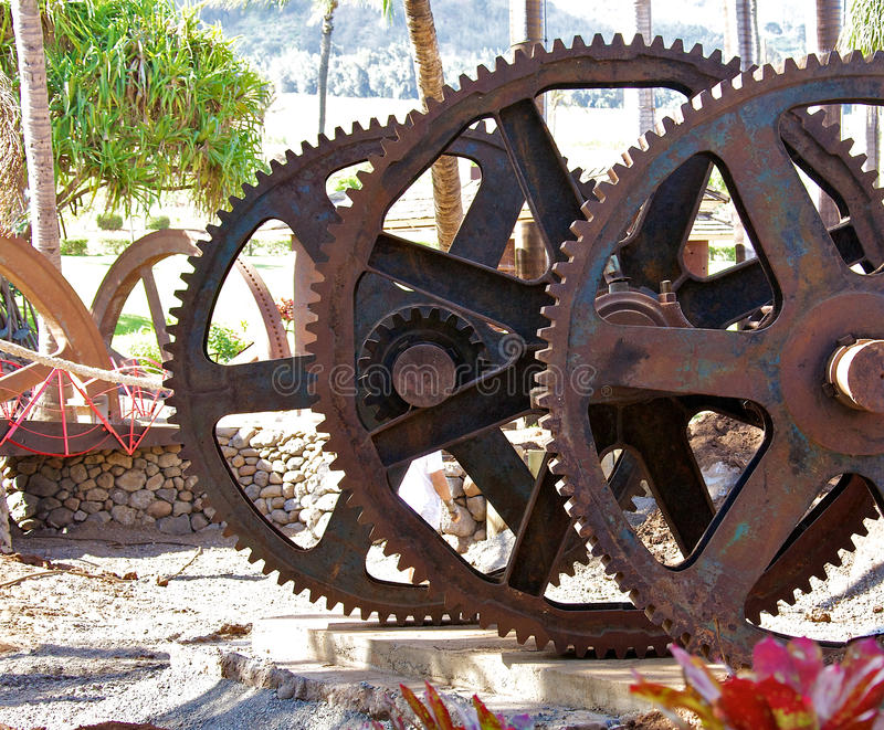 Gears. Three very old large metal gears stock photography