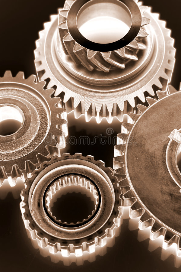 Gears. Metal gears over black background royalty free stock photo