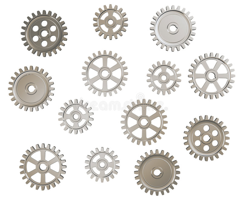 Gears. Set of toothed gears on white background vector illustration