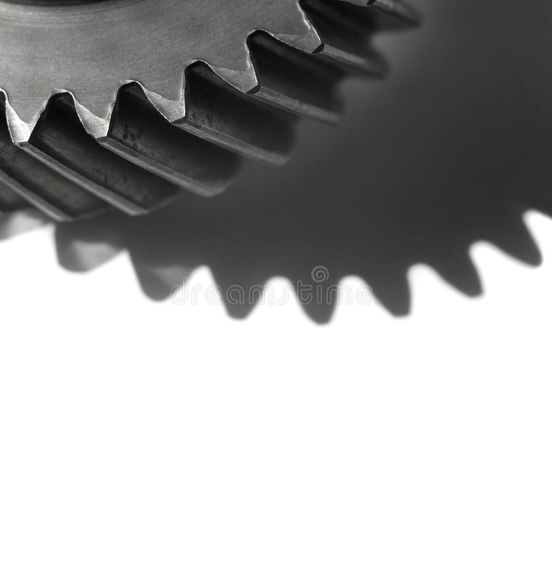 Gears. Cogwheel over white background with room for latter text.Shallow DOF stock images