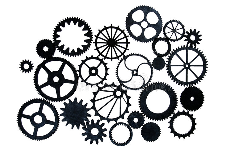 Gears. Various gears with interlinking teeth and cogs stock photography