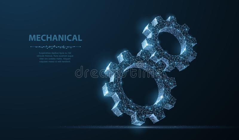 Gears. Abstract vector wireframe two gear 3d modern illustration on dark blue background. stock illustration