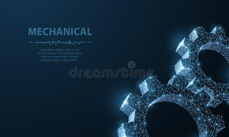 Gears. Abstract vector wireframe two gear 3d modern illustration on dark blue background. vector illustration