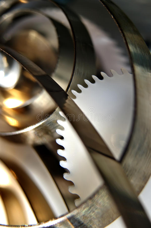 Gears. Abstract view of extreme closeup of mechanical gears.(Shallow DOF royalty free stock images