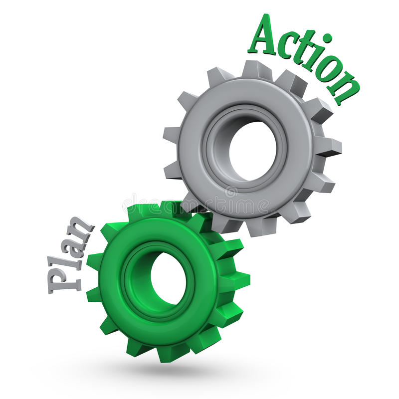 Gears Action Plan. Gears with the text action and plan vector illustration