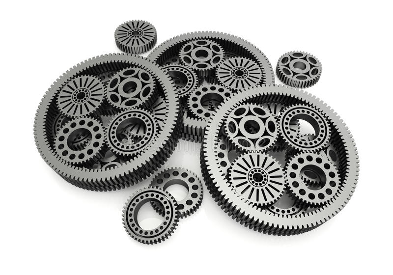Gears aluminium. On white background. 3d image royalty free illustration